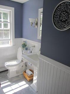Would make a pretty guest bathroom color. Bathroom color and beadboard Downstairs Bathroom, Bathroom Renos, Bathroom Ideas, Remodel Bathroom, Bathroom Remodeling, Master Bathroom, White Bathroom, Bathroom Wall, Wood Panel Bathroom