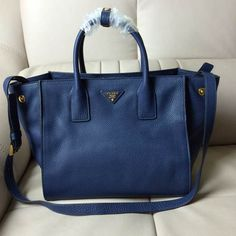 Prada Bn2693 Women Medium Vit Daino Calf Leather Ping Tote Navy Blue Pradafire