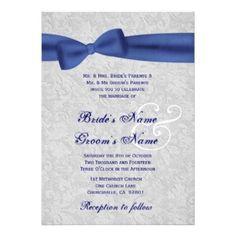 Elegant Wedding Invitations   Elegant Wedding Invitations :: Silver Damask And Royal Blue Bow ...