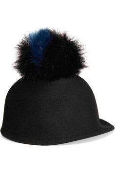 Eugenia Kim - Bo Faux Fur-trimmed Wool-felt Cap - Black - one size