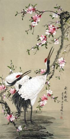 Chinese Crane x x Painting. Buy it online from InkDance Chinese Painting Gallery, based in China, and save Japanese Painting, Chinese Painting, Sculpture Textile, Art Chinois, Art Japonais, China Art, Japanese Embroidery, Arte Floral, Japan Art