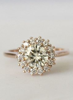 Cluster Diamond Halo Engagement Ring in 14K Rose Gold