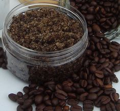 Coffee Body Scrub (DIY): brown sugar, sea salt, coffee grinds, coconut oil, and vitamin E, olive, or apricot oil.