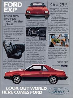 Ford EXP--I loved owning this car!!  (except it blew blue smoke every time I started it up!)