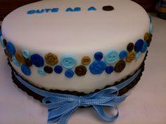 Cute as a button. Baby Boy Shower Cake