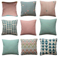 Geometric Triangles Cushion Cover Chevron Coral Blue Turquoise Pillow Cover Turquoise Pillows, Geometric Cushions, Coral Blue, Triangles, Pillow Covers, Chevron, Throw Pillows, Bed, Decor