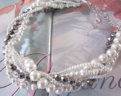 Wedding /Bridal Jewelry in Ivory White and Silver - Twisted Pearl and Crystal Wedding Necklace by SLDesignsHBJ on Etsy