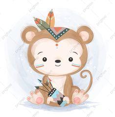 Illustration Singe, Illustration Mignonne, Elephant Illustration, Cute Animal Illustration, Watercolor Illustration, Graphic Illustration, Watercolor Art, Animal Drawings, Cute Drawings