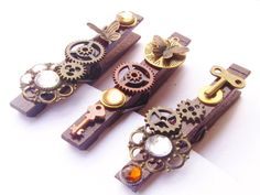 Steampunk Decorative Clothes Pins by BlackDovesDesigns on Etsy, $12.00