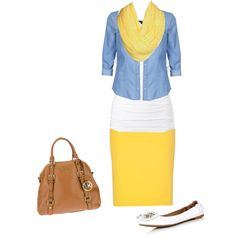 Yellow skirt with yellow scarf color-blocked with a light blue button down. (A chambray button-down would be a very low key way to wear this look)