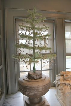 Also in the servery, this one is decorated with a garland of silver balls.