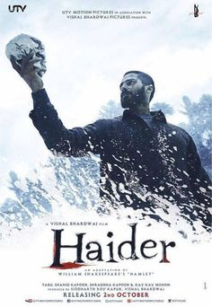 Haider: Haider is an Indian drama film directed by Vishal Bhardwaj, and written by Basharat Peer and Bhardwaj. It is an adaptation of William Shakespeare's Hamlet, and is set in Kashmir. The film stars Tabu, Shahid Kapoor as the eponymous protagonist, Shraddha Kapoor and Kay Kay Menon. #haider #movies #movies2014 #haider2014 #bollywood #ShahidKapoor #ShraddhaKapoor #film #posters #cinema