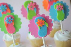 Summer Party Cupcake Toppers - Flip Flops