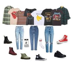 """""""School Days"""" by burnttoasts on Polyvore featuring Miss Selfridge, MadeWorn, Aéropostale, And Finally, Dr. Martens, Converse and Express"""