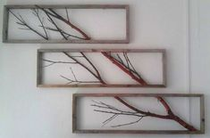 Home Interior Company Birch Branch spread over three frames made of driftwood (by Emile Hamann).Home Interior Company Birch Branch spread over three frames made of driftwood (by Emile Hamann). Twig Crafts, Home Crafts, Arts And Crafts, Pallet Wall Decor, Diy Wall Decor, Cheap Home Decor, Diy Home Decor, Tree Branch Decor, Twigs Decor