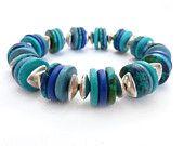 Blue Mykonos Bead Bracelet, Stacking Bracelet, Silver Beads, Elastic Bracelet, Turquoise