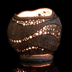 Decorative Lamps From Coconut Shell with Beautiful Light Effects Decorative Gourds, Decorative Lamps, Coconut Shell Crafts, Pottery Videos, Coconut Bowl, Gourd Lamp, Tea Candles, Shell Art, Recycled Crafts
