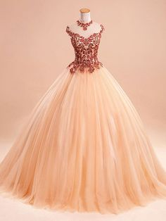 Ball Gown High Neck Tulle Floor-length Appliques Lace Popular Prom Dresses