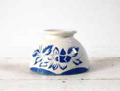 1 vintage Digoin MINI BOWL with blue flowers  bols by RueDesLouves, $30.00