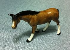 Miniature Ceramic Stallion Horse Animal Cute Little Tiny Small Brown White Figurine Statue Decoration Hand Painted Collectible