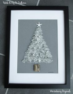 Sea Glass Art - White Christmas Tree - x Sleek Black Wall Frame - beach art, Christmas art, sea glass tree, pebble art - Sea Glass Crafts, Sea Glass Art, Stained Glass Art, Christmas Pebble Art, Christmas Art, White Christmas, Christmas Decorations, Driftwood Crafts, Seashell Crafts
