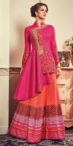 Hot Pink Bridal Wear Anarkali Gown With Embroidered Work