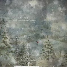 The magic that is winter abounds in this image of a blustery landscape of snow-covered firs and bare trees. A boy skates on a pond below a village in the distance, and a doves flies high in the wintry skies.