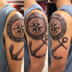 compass and anchor tattoo - Google Search