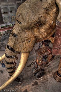 Les machines de l'île - Nantes Elephant Nantes, Sculpture Art, Sculptures, Art Du Cirque, Steampunk Animals, Installation Street Art, Toy Theatre, Peacock Art, Kinetic Art