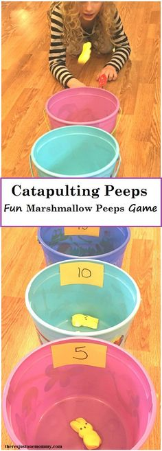 Peep Game for Easter : Catapulting Peeps: simple DIY Easter game; marshmallow Peeps activity Make your own marshmallow Peep catapult and use it in a fun Peeps game. Catapulting Peeps is a fun way to use those treats and even work on math!