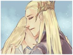 Legolas and Thranduil. Why is Legolas sad? :(-----> he just found out his grandfather died in mordor