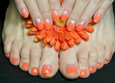 Orange nails and toes
