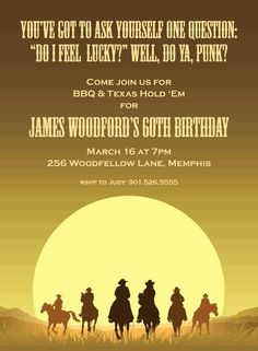 Country western wild west 50th birthday party card 50th birthday sunset cowboys birthday invitations filmwisefo