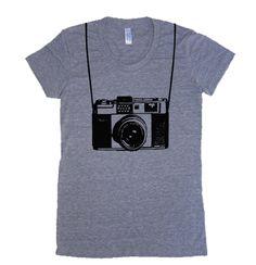 Womens Vintage Camera T Shirt - American Apparel Tshirt - S M L XL (20 Color Options). $19.00, via Etsy.