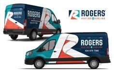 Vehicle wrap design for Rogers Heating & Cooling.