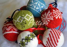 Knitting PATTERN 7 Colorwork Christmas Ornaments by bumblewood, $5.00