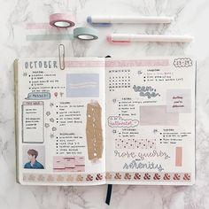 "643 Likes, 10 Comments - ᴬᴺᴺᴬ ° (@annastudied) on Instagram: ""here's my spread for the last week of october! it's also on my new desk!! i covered it in marble…"""