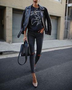 Black Friday ✔️ // Lederjacke & Tasche, Heels a - Jacke Mode Ideen Outfit Leather Jacket, Coat Outfit, Leather Pants, Leather Outfits, Outfit Jeans, Mode Outfits, Fall Outfits, Casual Outfits, Fashion Outfits