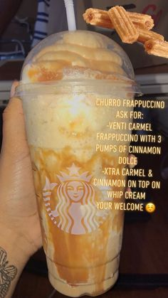 If you're gonna repost TAG ME starbucks drink Churro Frappuccino 🍯 IG: Infamousjas Starbucks Hacks, Bebidas Do Starbucks, Healthy Starbucks Drinks, Starbucks Secret Menu Drinks, Yummy Drinks, Starbucks Order, Starbucks Drinks Coffee, Starbucks Food, Special Starbucks Drinks
