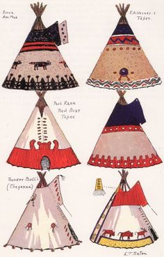 Tipi Painting & Construction Plate 1 from Manataka.org.   More visuals and design ideas for Paper Winter Teepee Sculptures/Dioramas.