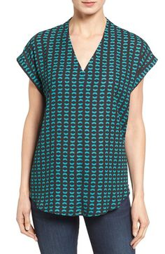 Pleione High/Low V-Neck Mixed Media Top (Regular & Petite)