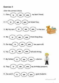 Present Simple - Verb-to-be - English ESL Worksheets for distance learning and physical classrooms English Activities For Kids, English Grammar For Kids, Learning English For Kids, Teaching English Grammar, English Worksheets For Kids, English Lessons For Kids, Verb Worksheets, Grammar Activities, English Verbs