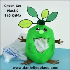 Green Guy Plastic Grocery Bag Caddy milk Jug Recycle Craft for Earth Day from www.daniellesplace.com