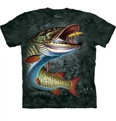 Muskie Adult T-Shirt - Quality tee shirts preshrunk and dyed using a unique process that produces an image with incredible detail with an amazingly soft feel. The image is screen printed with water-based dye. Made in the USA. 3d T Shirts, Fishing T Shirts, Fishing Tips, Penguin, Classic T Shirts, Mens Tops, Mountain, Ebay Clothing, Hampshire