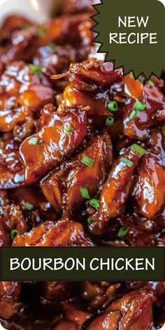 Chicken Bourbon Recipe // Chicken Recipes - - Spicy Bourbon Chicken is perfectly sweet, sticky and spicy, made in just one pan for a quick weeknight dinner with tasty leftovers. Asian Recipes, Beef Recipes, Cooker Recipes, Healthy Recipes, Recipies, Instant Pot Dinner Recipes, Easy Dinner Recipes, Easy Dinners, Best Dinner Recipes Ever