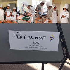 """This morning at the School of San Juan, Chef was invited to judge at the annual """"Nutrition Week."""" Chef was so proud to interact and share her knowledge with these budding stars of tomorrow. Well done all! #chefmarisoll #healthandnutrition #schoolofsanjuan #kitchensafety #cheflife #masterchef #knowledgeispower"""