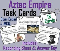 These task cards are a great way for students to learn about the Aztec Empire.This product contains 18 cards with multiple choice questions about the Aztec Empire. A recording sheet and an answer key are included. Blank cards are also included for questions to be added, if wanted.