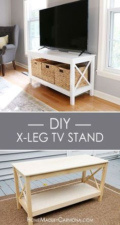 Learn how to build this stylish x-leg TV Stand, and impress your guests with furniture that looks like it was purchased from a store!