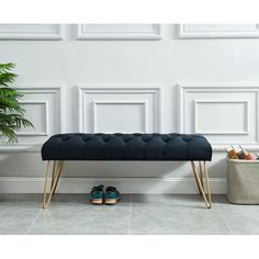 Beautiful contemporary bench with rich velvet upholstery. The button tufting adds another level of inspired design and the hairpin metal legs in a brushed gold just take it to the finish line! Living Room Furniture, Home Furniture, Living Room Decor, Furniture Design, Modern Furniture, Upholstered Bench, Ottoman Bench, Dining Bench, Rangement Art
