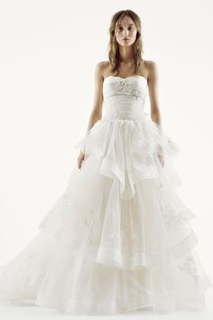 Vera Wang for David's Bridal strapless ruffled wedding dress